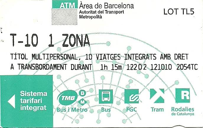 T-10 билет на 10 поездок барселона