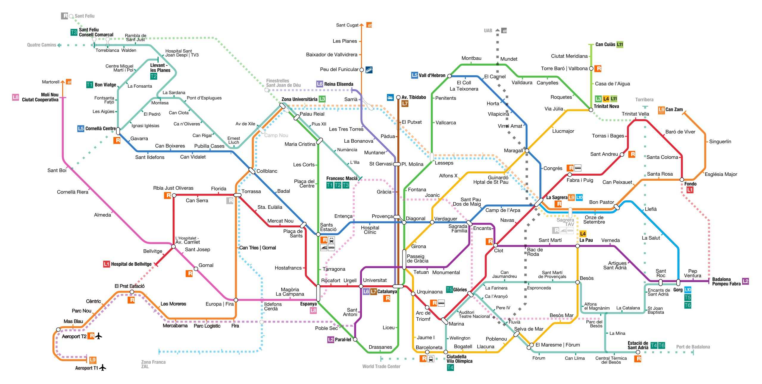 Схема метро Барселоны